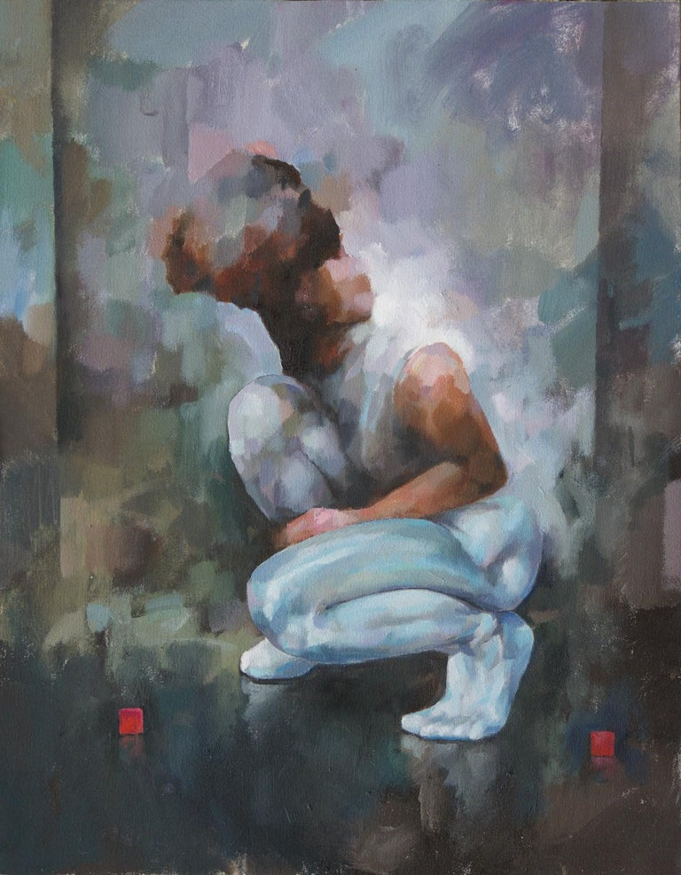 """Glenn Ibbitson Figurative Painting - """"Figure With Red Cubes""""  Contemporary Figurative Oil Painting"""