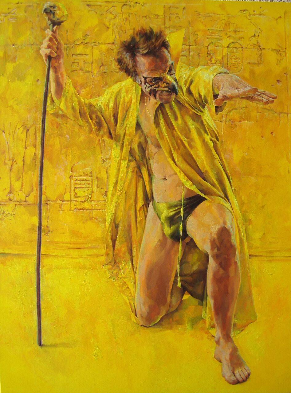 Horus The Magician.   Contemporary Figurative Oil Painting