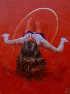 Levitating Lady. Contemporary Figurative Oil Painting