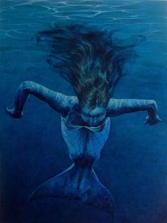 Mermaid Drifting.  Contemporary Figurative Oil Painting