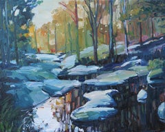 Cascades Reflections, Painting, Oil on Canvas