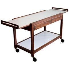 Glenn of California Hostess Bar Cart in Walnut and White Formica