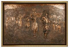 Glenna Goodacre Buffalo Dance Bronze Relief Sculpture Native American Signed Art