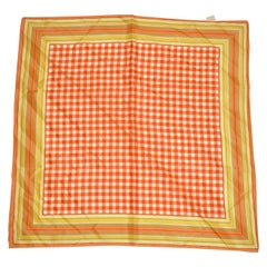 Glentex Multi-Stripe Borders with Red, Tangerine & White Checker Center Scarf