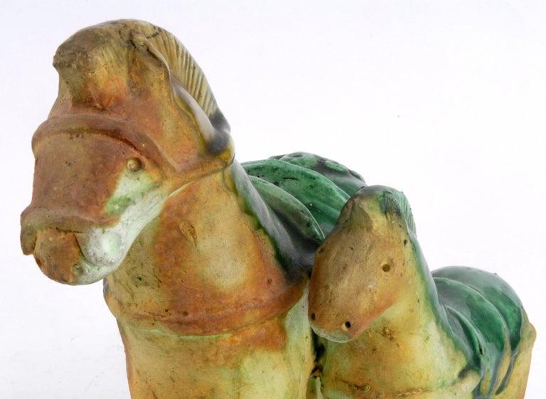 Italian Gli Etruschi, Ivo De Santis Pair of Green/Ochre Horses, Italy, circa 1960 For Sale