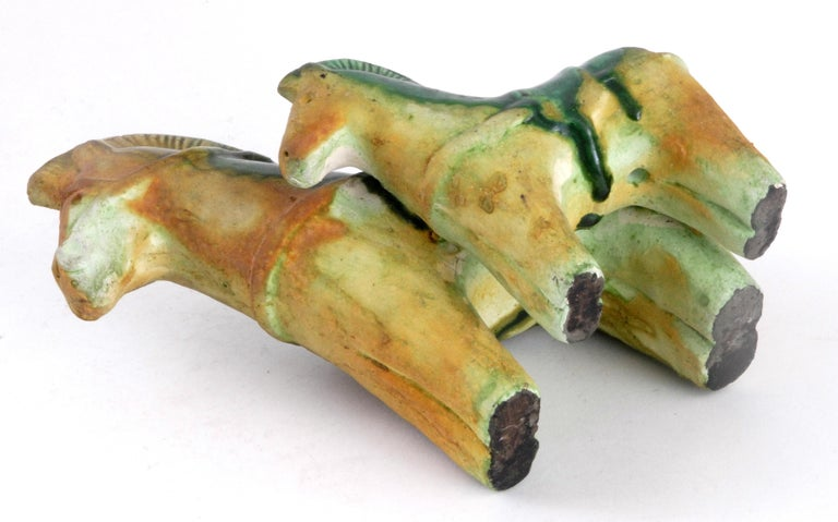 Hand-Crafted Gli Etruschi, Ivo De Santis Pair of Green/Ochre Horses, Italy, circa 1960 For Sale