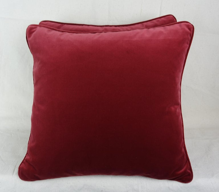Italian Glicine Patterned Red and Gold Fortuny Pillows, a Pair For Sale