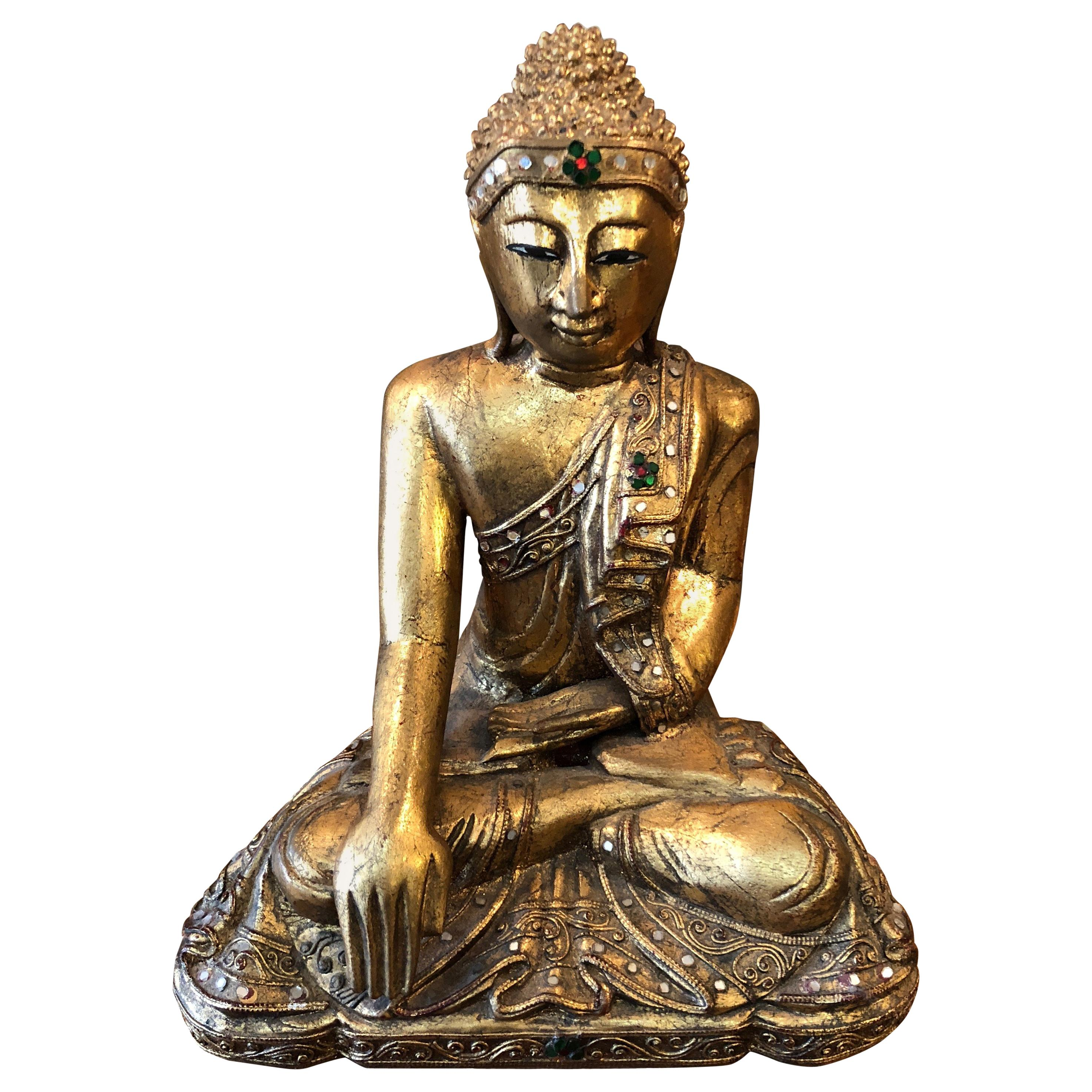 Glimmering Giltwood and Bejeweled Buddha Statue