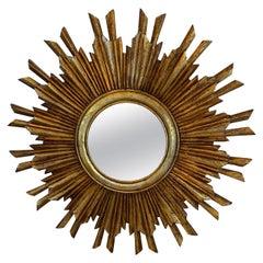 Glimmering Glamorous Giltwood Sunburst Mirror