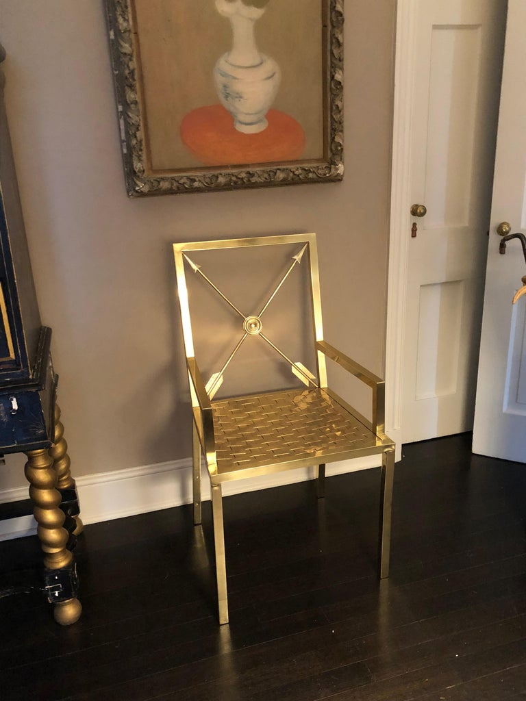 American Glimmering Show Stealer Heavy Brass Neoclassical Armchairs by Mastercraft For Sale
