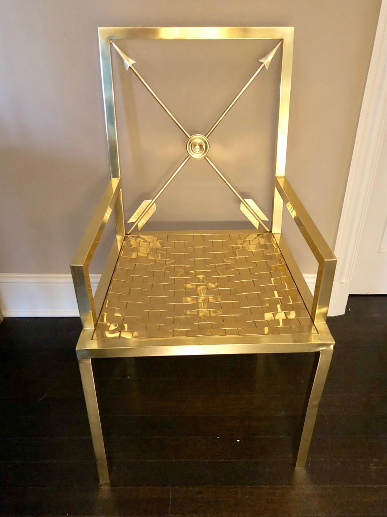 Mid-20th Century Glimmering Show Stealer Heavy Brass Neoclassical Armchairs by Mastercraft For Sale