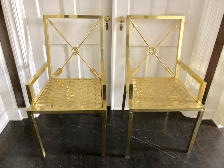 Glimmering Show Stealer Heavy Brass Neoclassical Armchairs by Mastercraft For Sale 2