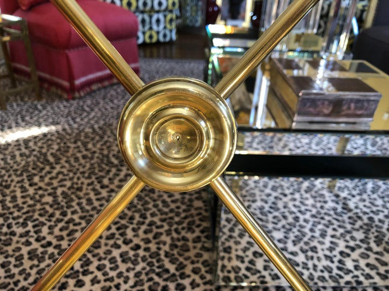 Glimmering Show Stealer Heavy Brass Neoclassical Armchairs by Mastercraft For Sale 3