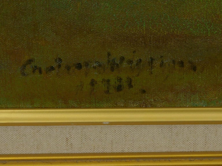 """""""Glimpse of the Sea"""" Antique Oil Landscape Painting by Carleton Wiggins of Sheep For Sale 3"""