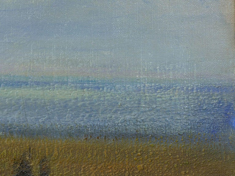 """""""Glimpse of the Sea"""" Antique Oil Landscape Painting by Carleton Wiggins of Sheep For Sale 5"""