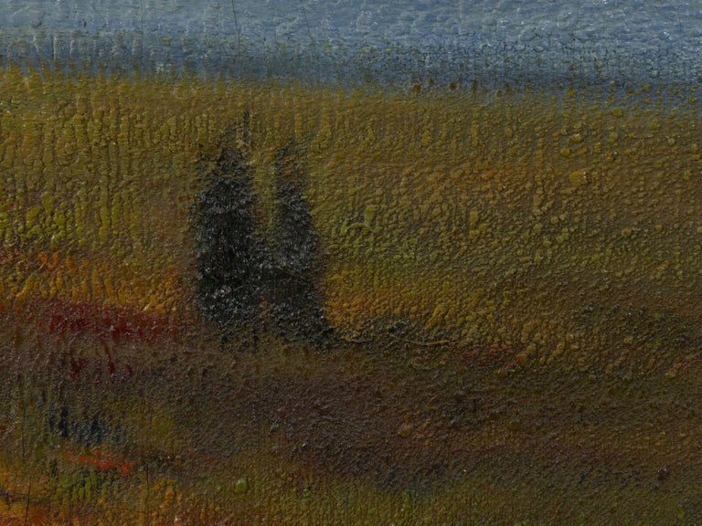 """""""Glimpse of the Sea"""" Antique Oil Landscape Painting by Carleton Wiggins of Sheep For Sale 6"""