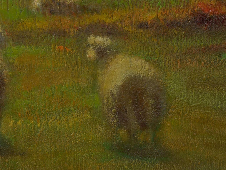 """""""Glimpse of the Sea"""" Antique Oil Landscape Painting by Carleton Wiggins of Sheep For Sale 7"""