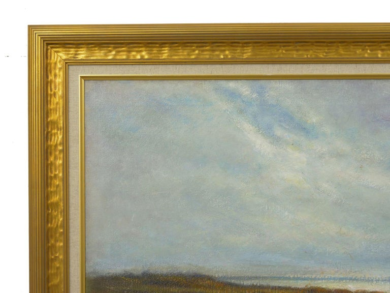 """""""Glimpse of the Sea"""" Antique Oil Landscape Painting by Carleton Wiggins of Sheep For Sale 9"""
