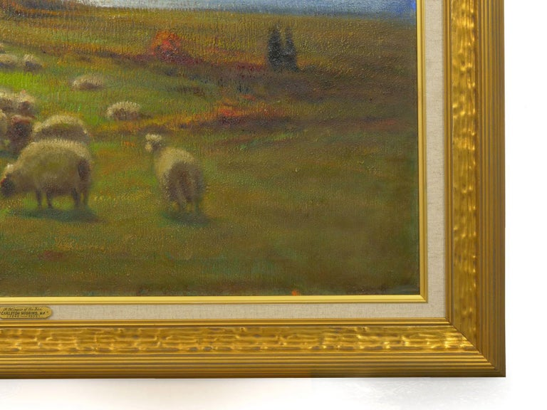 """""""Glimpse of the Sea"""" Antique Oil Landscape Painting by Carleton Wiggins of Sheep For Sale 10"""