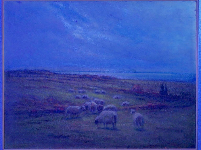 """""""Glimpse of the Sea"""" Antique Oil Landscape Painting by Carleton Wiggins of Sheep For Sale 11"""