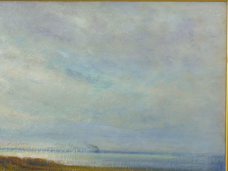 """American """"Glimpse of the Sea"""" Antique Oil Landscape Painting by Carleton Wiggins of Sheep For Sale"""
