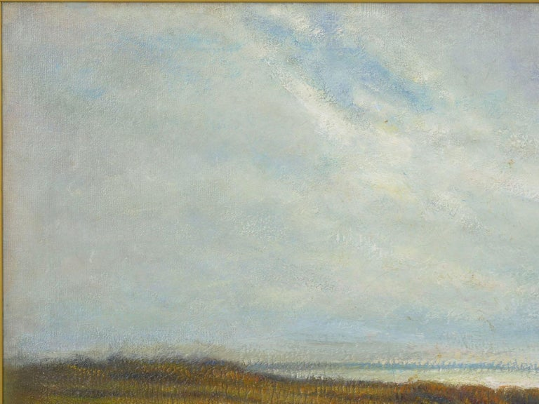 """Hand-Painted """"Glimpse of the Sea"""" Antique Oil Landscape Painting by Carleton Wiggins of Sheep For Sale"""