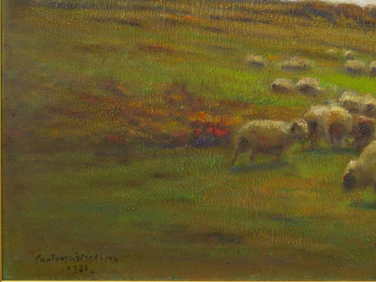 """""""Glimpse of the Sea"""" Antique Oil Landscape Painting by Carleton Wiggins of Sheep In Good Condition For Sale In Shippensburg, PA"""