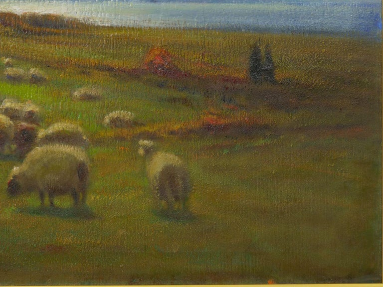 """19th Century """"Glimpse of the Sea"""" Antique Oil Landscape Painting by Carleton Wiggins of Sheep For Sale"""