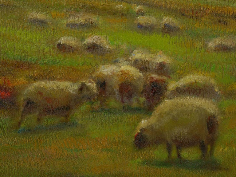 """""""Glimpse of the Sea"""" Antique Oil Landscape Painting by Carleton Wiggins of Sheep For Sale 2"""