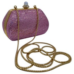 Glistening Judith Leiber Pink Crystal Minaudiere Evening Bag With Shoulder Chain