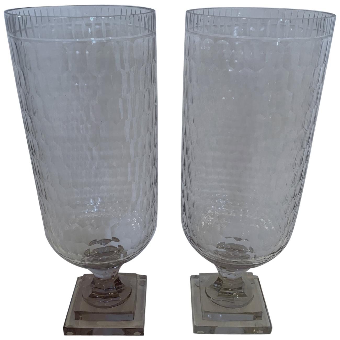 Glistening Pair of Cylindrical Cut Glass Hurricanes Candle Holders