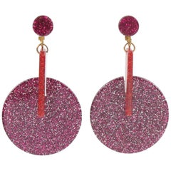 Glitter Fuchsia Lucite Dangle Clip Earrings