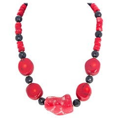 "Gemjunky Art Deco Gemcut Black Onyx, Magnificent Natural Red Coral 18"" Necklace"
