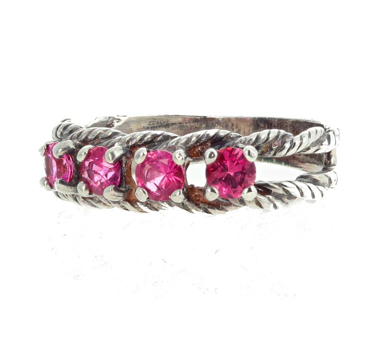 Women's or Men's Glittering Brilliant Pink Spinel Sterling Silver Ring For Sale