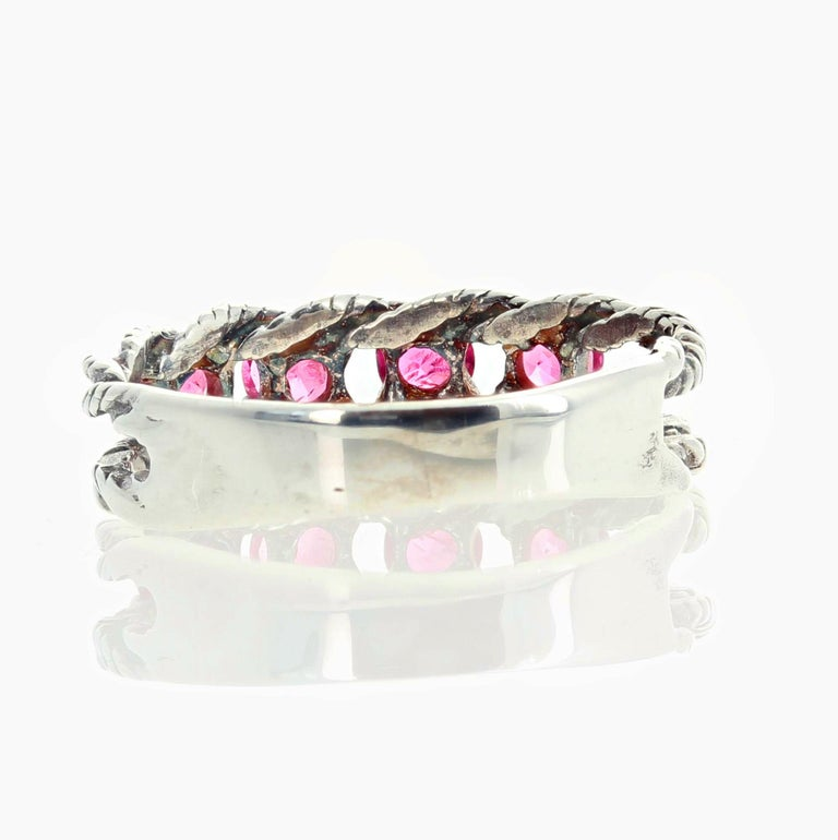 Glittering Brilliant Pink Spinel Sterling Silver Ring For Sale 2