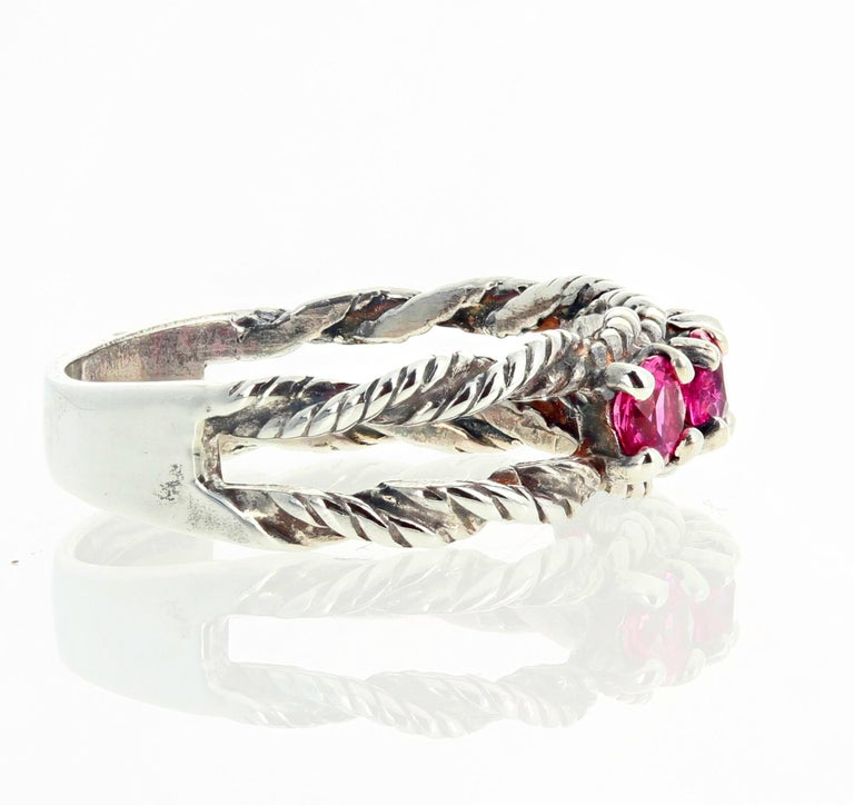 Glittering Brilliant Pink Spinel Sterling Silver Ring For Sale 3