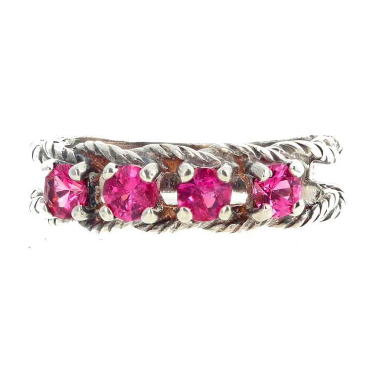 Glittering Brilliant Pink Spinel Sterling Silver Ring For Sale 4