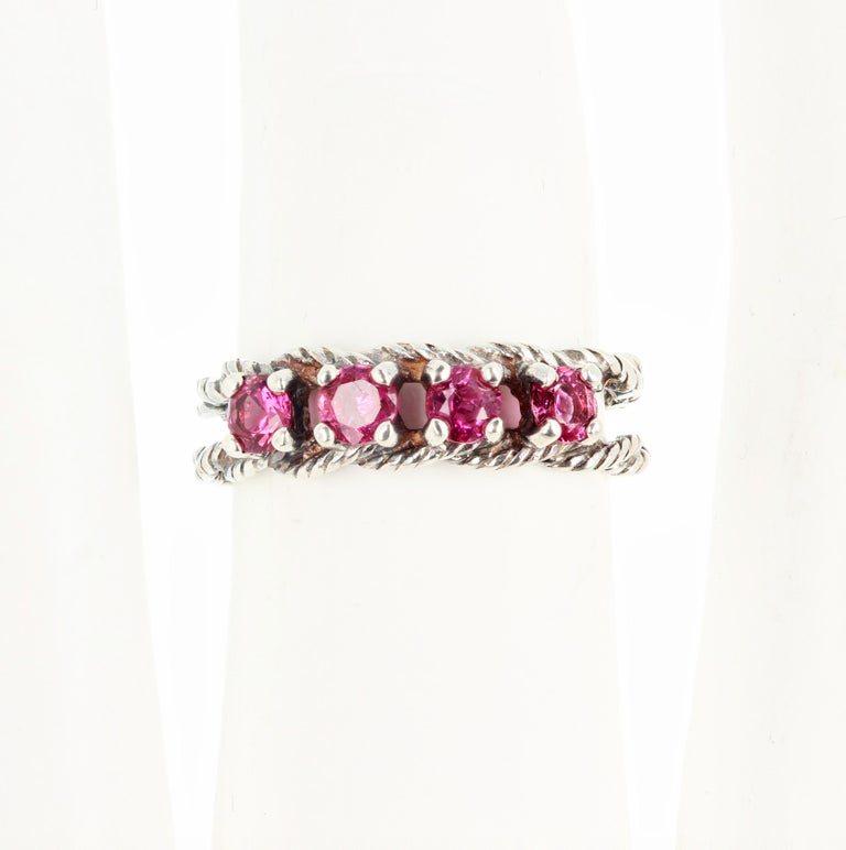 Glittering Brilliant Pink Spinel Sterling Silver Ring For Sale 5