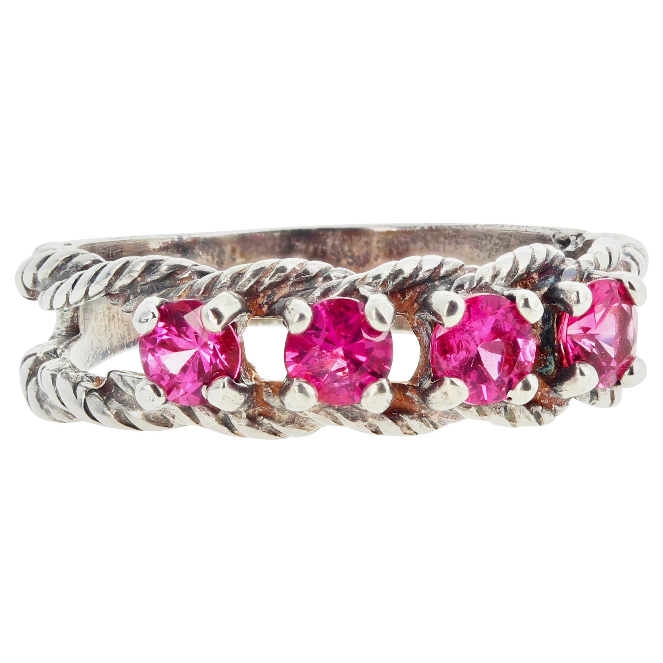 Gemjunky Glittering Brilliant Sparkling Pink Spinel Sterling Silver Ring