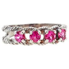 Glittering Brilliant Pink Spinel Sterling Silver Ring