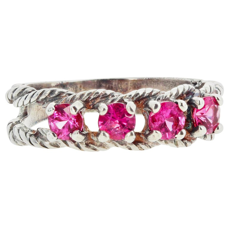Glittering Brilliant Pink Spinel Sterling Silver Ring For Sale