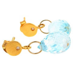 Glittering Dangling Blue Topaz and Diamond 14 Karat Yellow Gold Stud Earrings