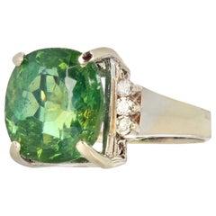 Glittering Green 8 Carat Madagascar Apatite and Diamond Ring