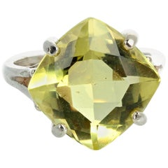 "Gemjunky  Red Carpet Ready 7.3 Cts Lemon Quartz Sterling Silver ""GLAM"" Ring"