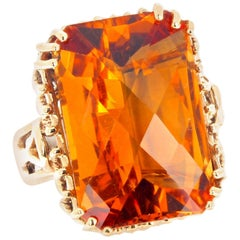 Gemjunky Glittering Goldy Natural 16.86 Ct Citrine Antique Yellow Gold Ring