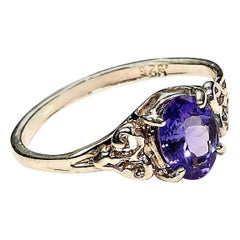 Glittering Oval Tanzanite in Detailed Sterling Silver Cocktail Ring