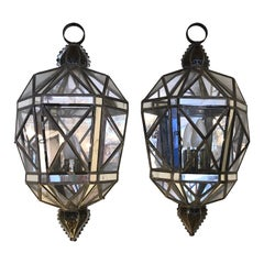 Glittering Pair of Tin Glass and Mirrored Faceted Lantern Sconces