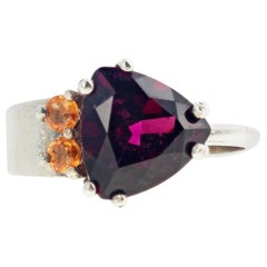 Glittering Red Garnet and Yellow Citrine Sterling Silver Ring