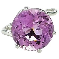 Glittering Round Kunzite Set in Silver Ring