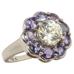 Glittering Round Zircon Surrounded by Tanzanites Cocktail Ring by Gemjunky